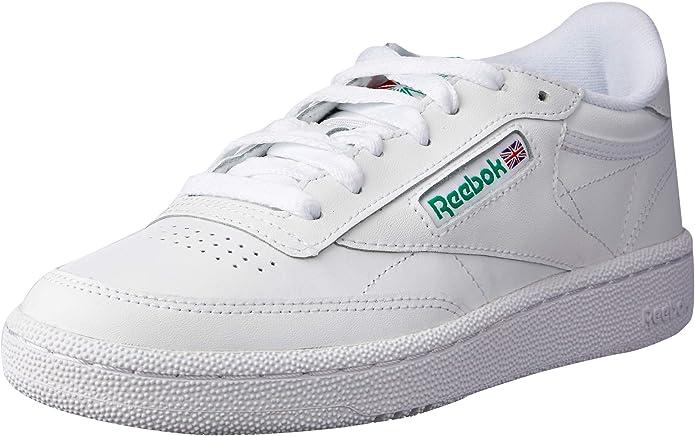 Reebok Club C 85 Sneakers Fitnessschuhe Herren Weiß mit grüner Schrift