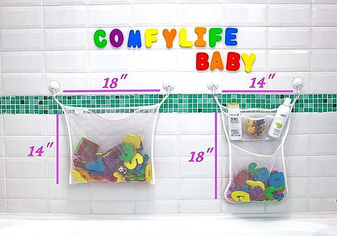 Bathtub Storage Bag Quick Drying Kids Toy Holder W, W, B0S Bath Toy Bin Wall Mounted Storage Basket Tenrai Mesh Bath Toy Organizer 4 Ultra Strong Hooks Toddler Shower Caddy for Bathroom