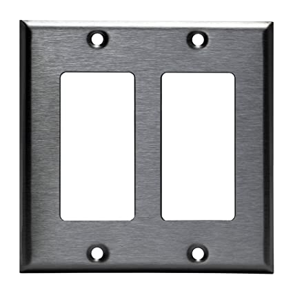 Brushed Stainless Steel Outlet Cover Rocker Decorator Switch Metal