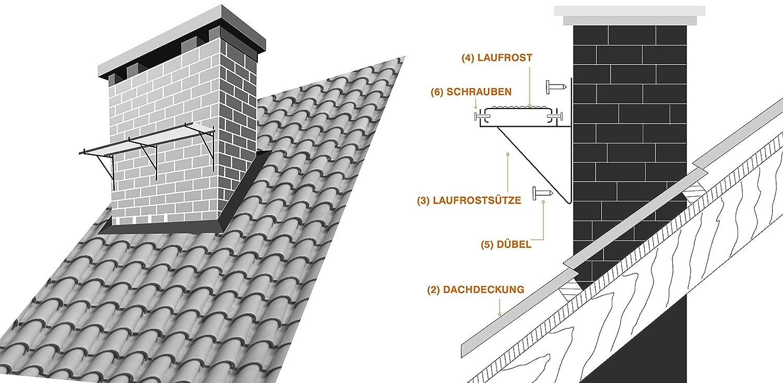 RAL 8004 - Ziegelrot DACHTRITT Steigtritt Kaminpodest 100 cm Komplett f/ür Kamin//Wand