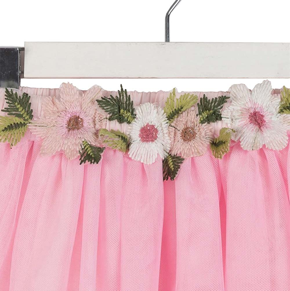 USGreatgorgeous Baby Girls Super Soft Layered Tulle Skirt Princess Flowers Dance Tutu for Toddler 2-12Y