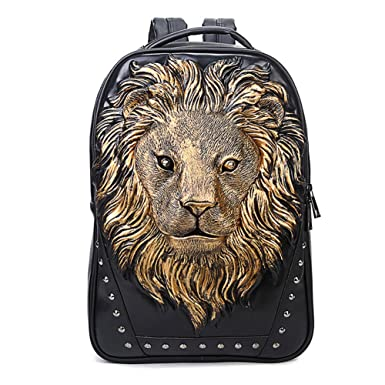 7f7649afe0b 3D Print Animal Studded Backpack, PU Leather Cool Backpack Bookbag (Lion- Gold)