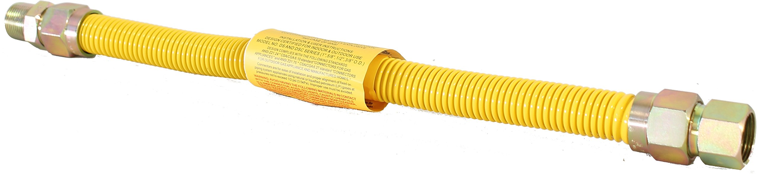 Duratrac Yellow Coated Stainless Steel 1/2'' MIP x 1/2'' FIP x 18'' Full Flow (1/2'' OD) Gas Flex Connector