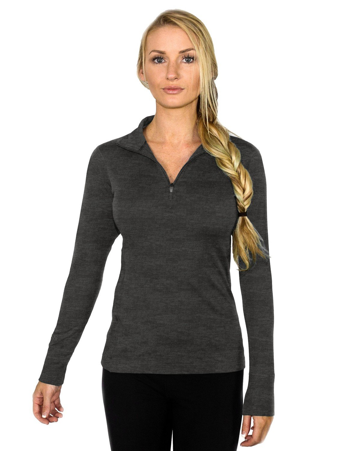 Woolx Women's Brooke 1/4 Zip Pull Over Midweight Merino Wool Base Layer Top, Charcoal Heather, Medium by WoolX