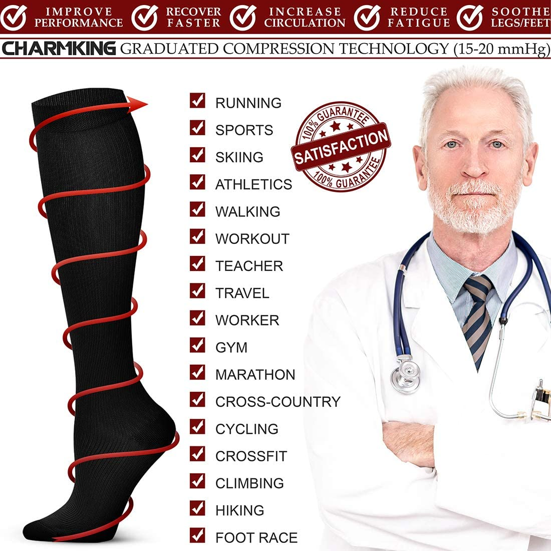 QUXIANG Compression Socks for Men and Women, Circulation (6 Pairs) - Best for Running Athletic Cycling 15-20 mmHg: Clothing