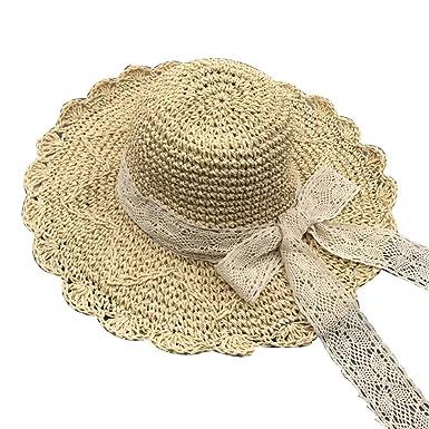 20a7cf3127fd7a OMAS Femmes Summer Beach Crochet large bord chapeau de paille Bow beige