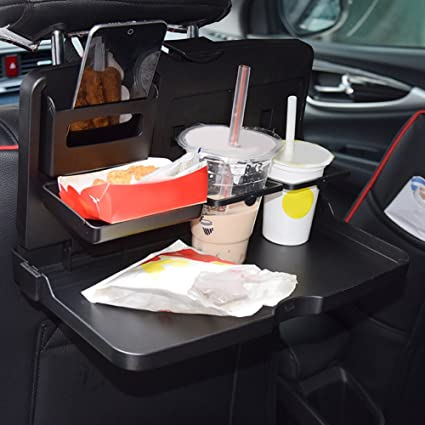 Rrimin Universal Black Car Food Tray Folding Dining Table Drink Holder Pallet Back