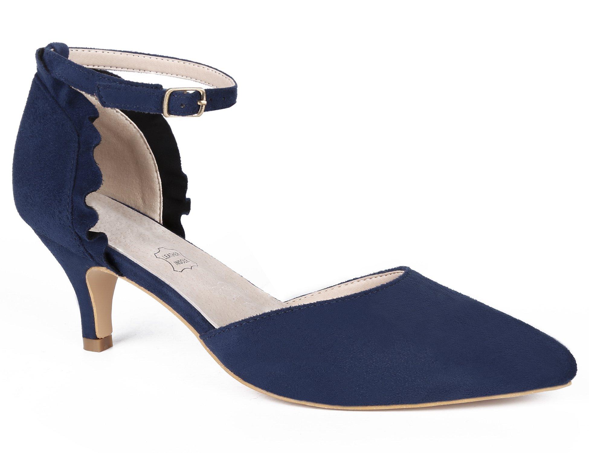 MaxMuxun Women Shoes Sexy Closed Toe Kitten Heels Blue Comfortable Slingback Dress Pumps Size 7