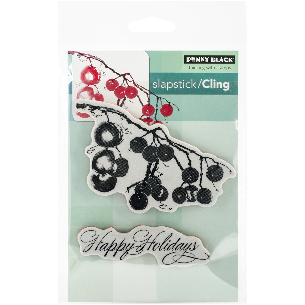 Berry Merry Christmas Penny Black 40-346 Decorative Rubber Stamps