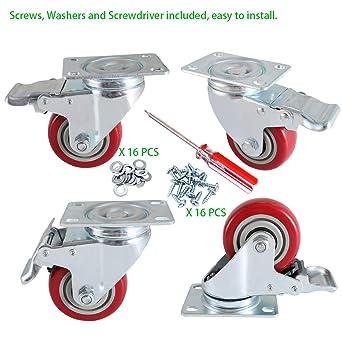"""Kreg 3/"""" Heavy Duty Rubber Swivel Caster Wheels With Dual Brake Lock 4 Pack PR..."""