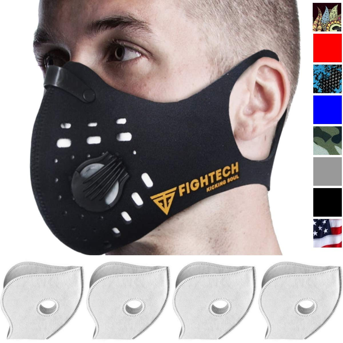 Dust Mask by Fightech | Mouth Mask Respirator with 4 Carbon N99 Filters for Pollution Pollen Allergy Woodworking Mowing Running | Washable and Reusable Neoprene Half Face Mask (Large/X-Large, Black) by FIGHTECH