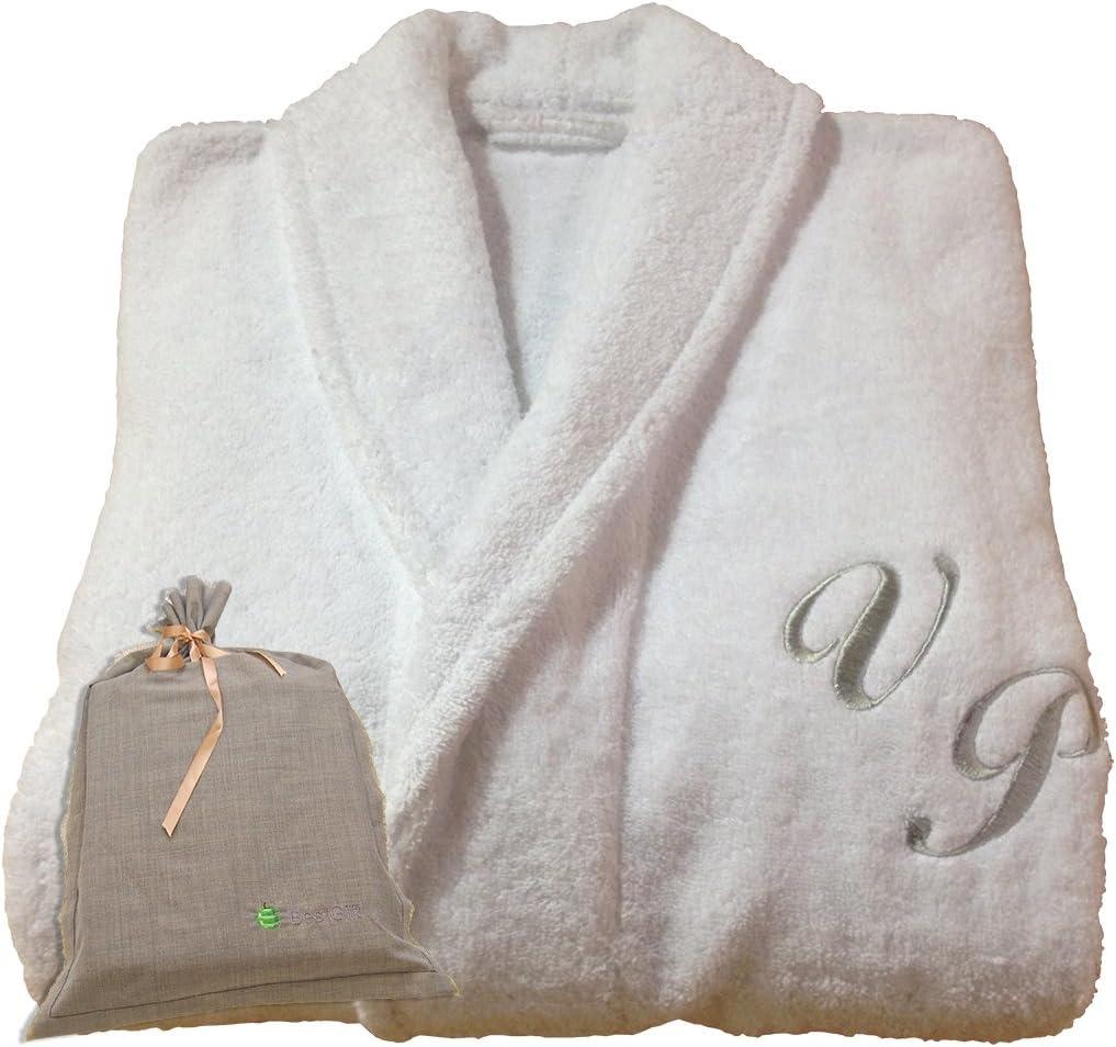 BgEurope Hotel SPA Edition Shawl Collar White Monogram Personalised Bathrobe 100% Cotton (S)