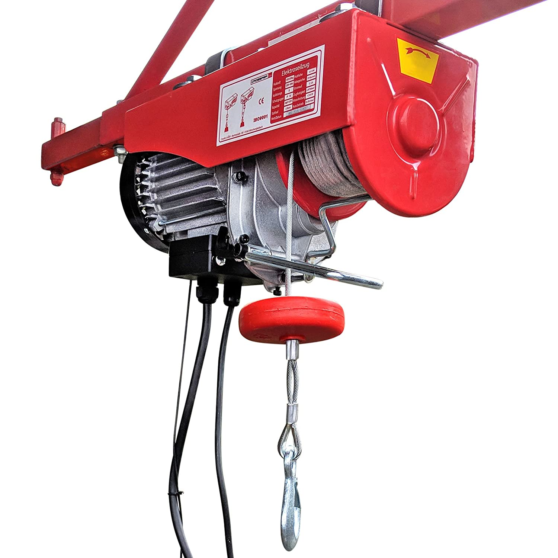 CROSSFER PA600A Elektrischer Seilhebezug 230Volt fü r 300kg/600kg Last Seilwinde mit Umlenkrolle als Flaschenzug Seilzug 12 Meter Hubhö he Hebezug Lastkran Crossfer GmbH