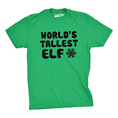 Amazon.com: World's Tallest Elf T Shirt Funny Sarcastic Christmas ...