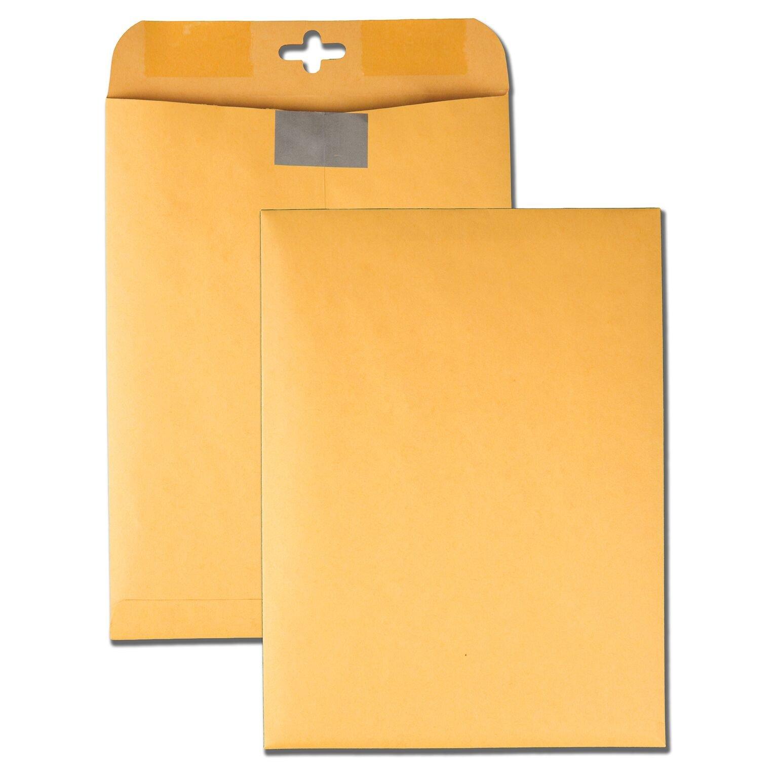 Quality Park Postage Saving ClearClasp Kraft Envelopes, 9 x 12, Brown Kraft, 100/Box (43568)