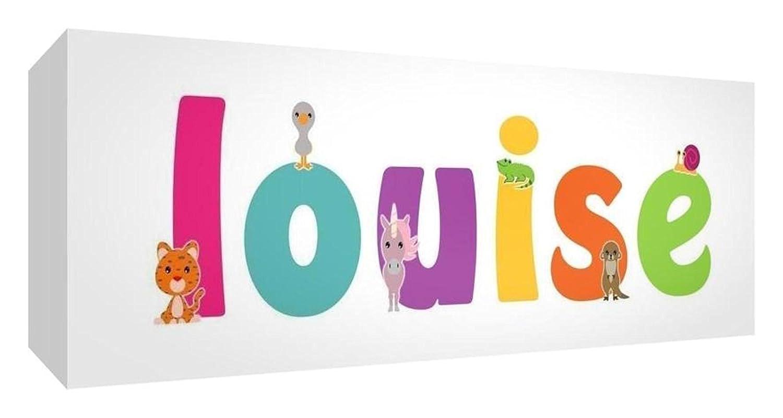 Little Helper Toile Boîte Galerie Enveloppé avec Panneau avant Style Illustratif Coloré avec le Nom de Jeune Fille Louise 15 x 42 x 3 cm Petite LHV-LOUISE-1542-15FR