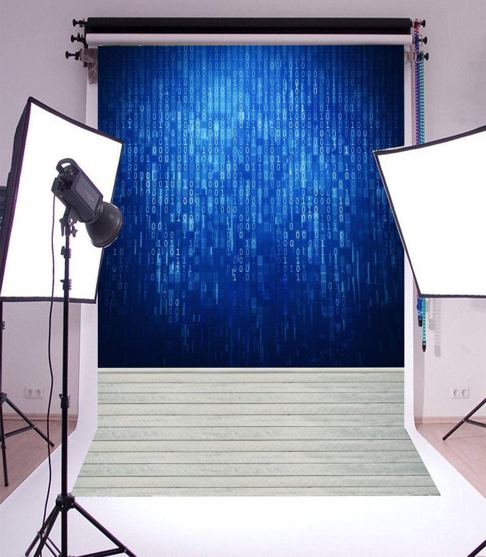 Laeacco Vinyl Thin Backdrop 5x7FT Photography Background Blue Binary Code Hacker Technology Computer White Stripes Wooden Floor Mystery Portraits 1.5(W)x2.2(H)m Backdrop for Video Photo Studio Props