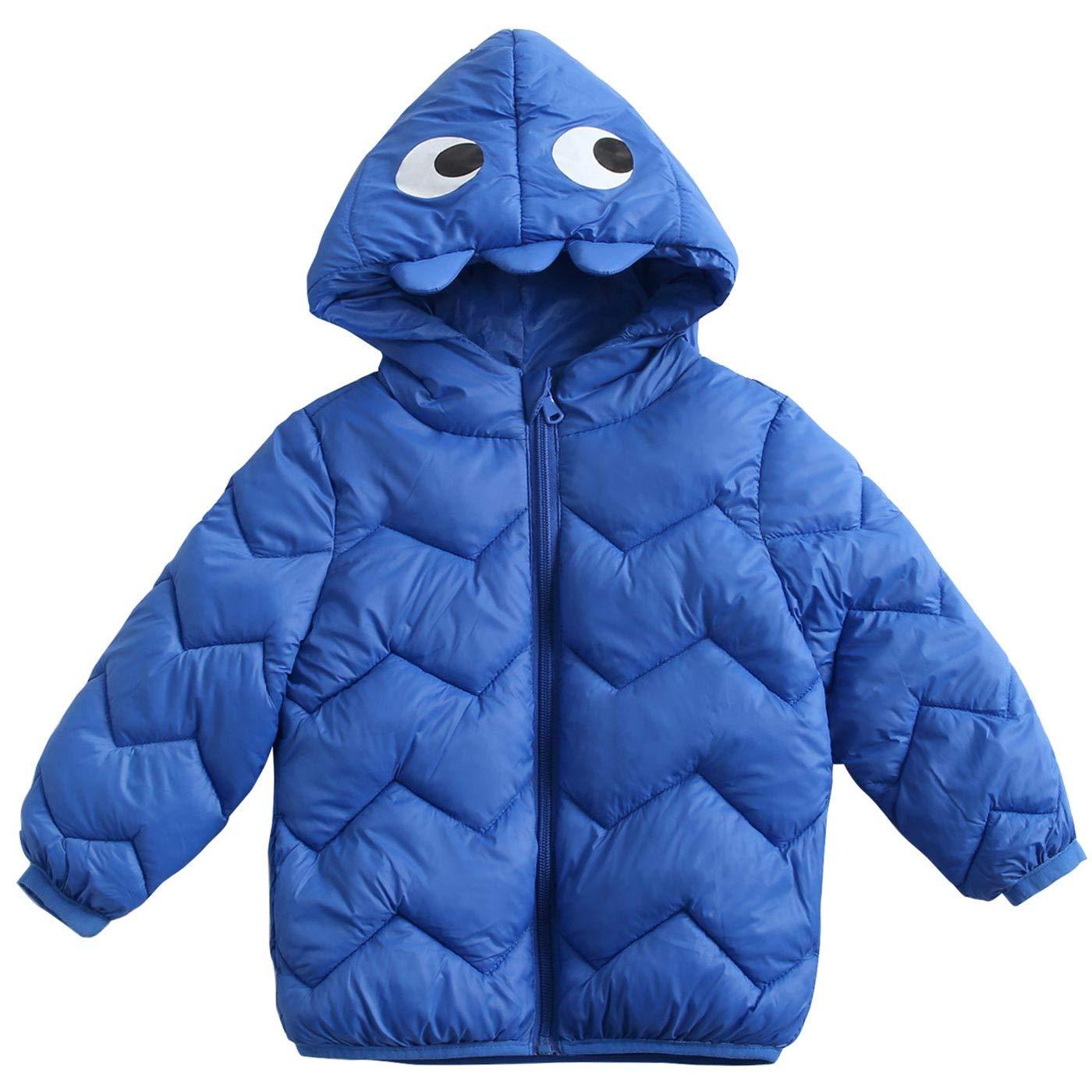 Happy Cherry Baby Winter Warm Down Coat Lightweight Puffer Jacket Zipper Outwear Evil Hood 2-6Y Kids