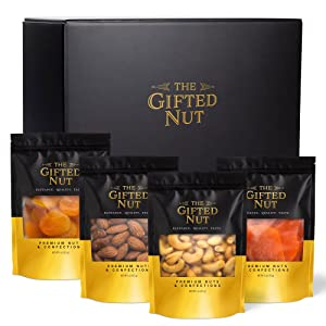 Gifted Nut Dried Fruits and Nuts Gift Box - 4 oz Resealable Bags of Roasted Almonds, Roasted Cashews, Dried Apricots, Dried Mango - Fresh Gourmet Gift Box - Elegant Holiday and Care Package