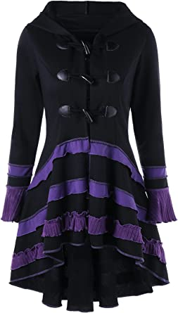 Gamiss Women S Double Breasted High Low Hem Lace Up Hooded Coat
