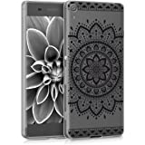 kwmobile Funda para Sony Xperia XA - Carcasa de [TPU] para móvil y diseño de Flor Azteca en [Negro/Transparente]