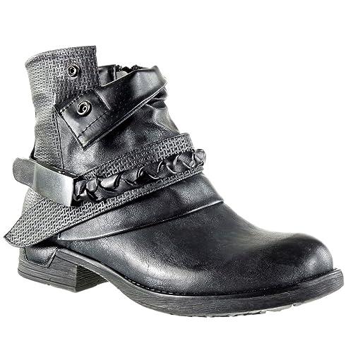 Angkorly - Zapatillas Moda Botines Cavalier Bimaterial Mujer Zapato Acolchado Nodo Camuflaje Talón Tacón Ancho 3 CM: Amazon.es: Zapatos y complementos