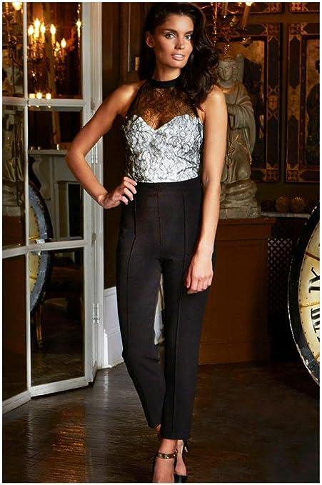 WJS de ropa negra Mujer gelegenheits – Pantalones, Mujeres Cuello de los colgar, negras