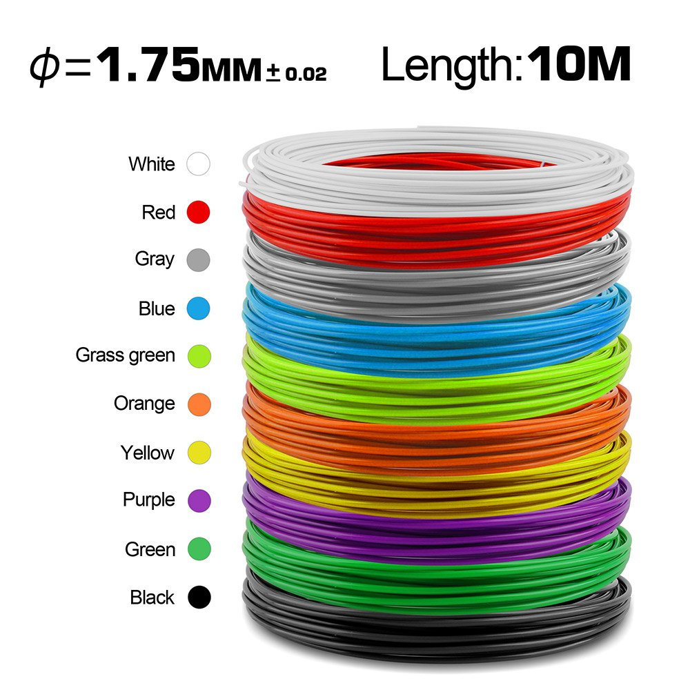 Perfect Gift for Kids and Adults Creating 3-D Arts and Crafts Projects LED Display Green Pack of 3 Different Colors PLA,ABS 3D Pen with 1.75mm Multi-Filament