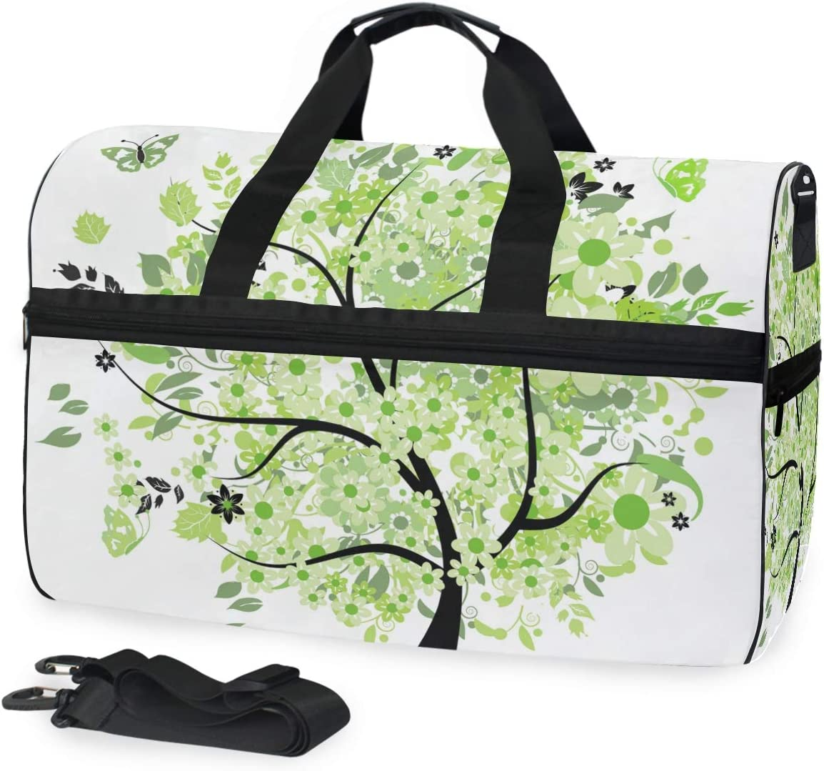 MALPLENA Green Spring Tree Clipart Picture Packable Duffle Bag For Men Women Tear Resistant Sports Duffle