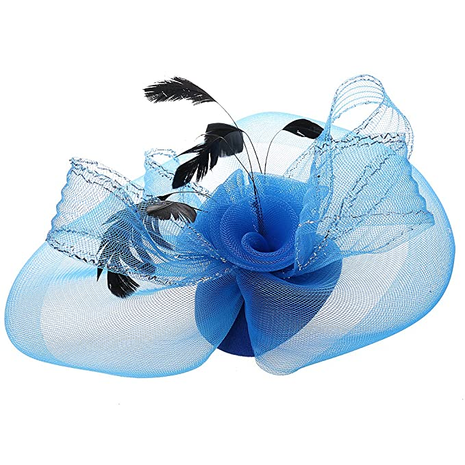 Sharplace Vintage Damen Netz Feder Fascinator Hut Mini Hut Blau
