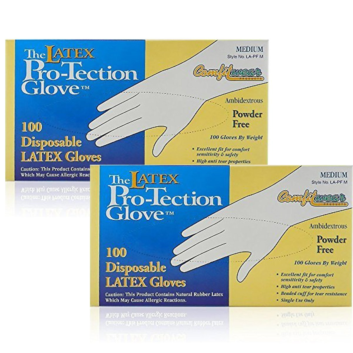 Comfitwear Disposable Latex Gloves, Powder Free, Medium, 200 Gloves (2 Boxes of