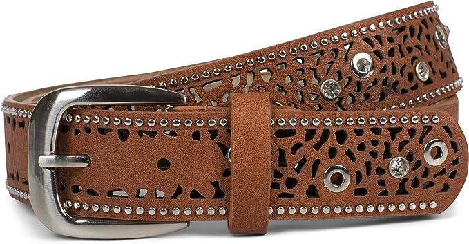 Nietengürtel Strass Stern Nieten Vintage Gürtel kürzbar Damen Cut Out Muster