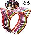 Candygirl Girl's Plastic Headbands Tiara Bunny Cat Bow Hairbands (10pcs Mix Colors Cat Ear Headbands)
