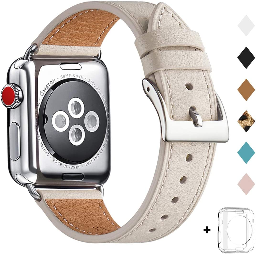 Bestig Band Compatible for Apple Watch 38mm 40mm, Genuine Leather Replacement Strap for iWatch Series 6 SE 5 4 3 2 1, Sports & Edition (Ivory White Band+Silver Connector,38mm 40mm)