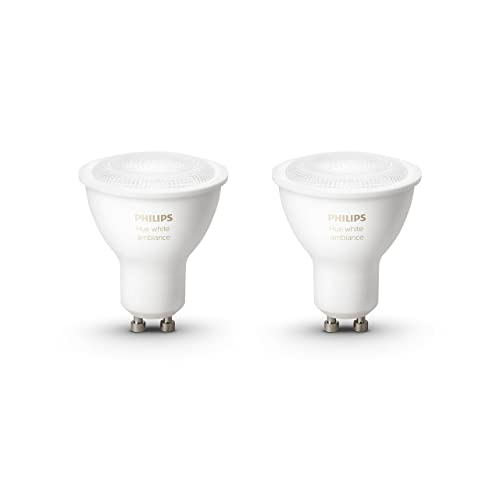 Philips Hue White Ambiance - Pack de 2 bombillas LED (2 x 5.5 W, GU10, iluminación inteligente - tonos de luz blanca cálida y fría regulable, compatible con Apple Homekit y Google Home)