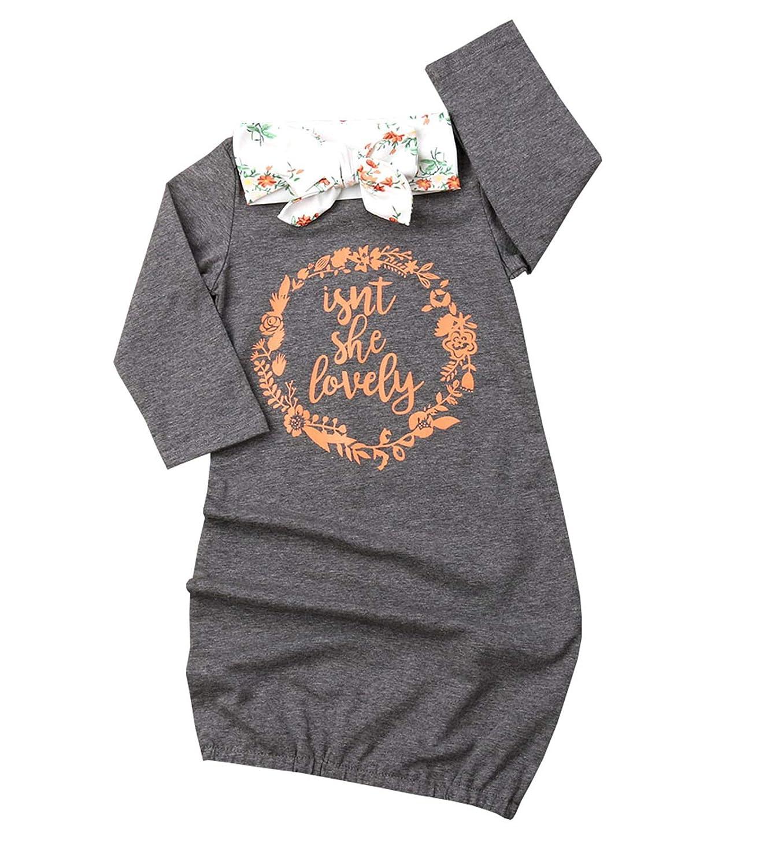Newborn Baby Girl Isn't She Lovely Floral Nightgowns Headband Sleepwear Sleeping Bag