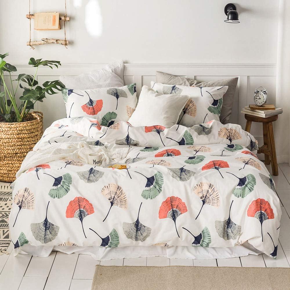 VM VOUGEMARKET Colorful Duvet Cover Set Full Queen,Ginkgo Leaves Duvet Cover Matching 2 Pillow Shams,Lovely Bright Lightweight Bedding Set for Teens Girls Women