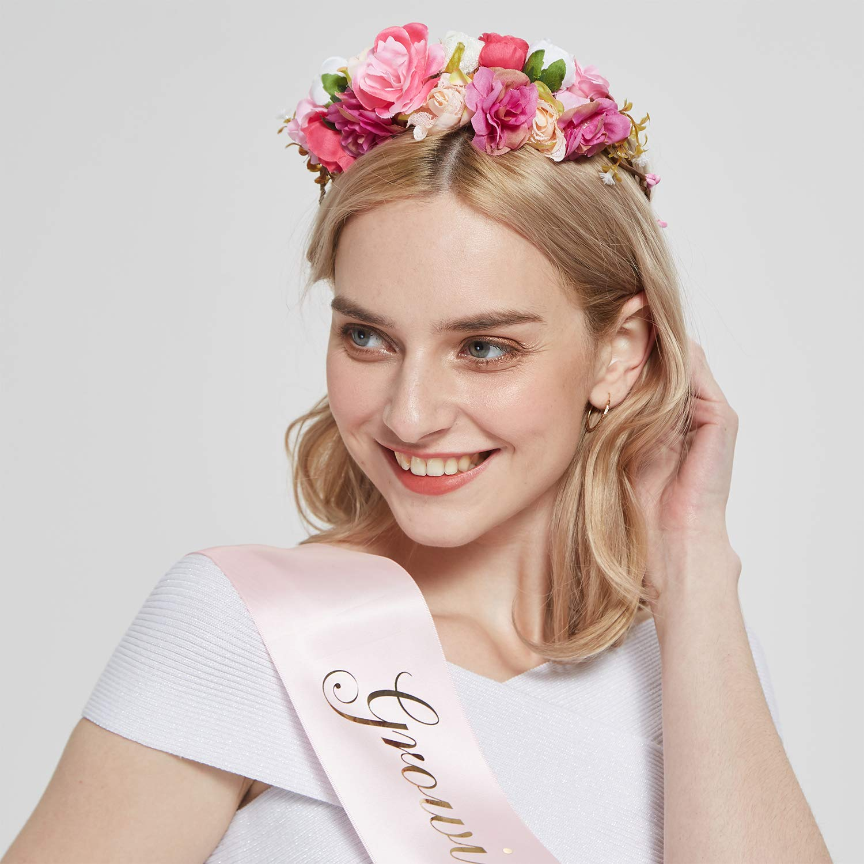''Growing a Princess'' Sash & Flower Crown Kit - Baby Shower Sash Princess Baby Shower Baby Sprinkle (Pink & Gold) by TTCOROCK (Image #5)