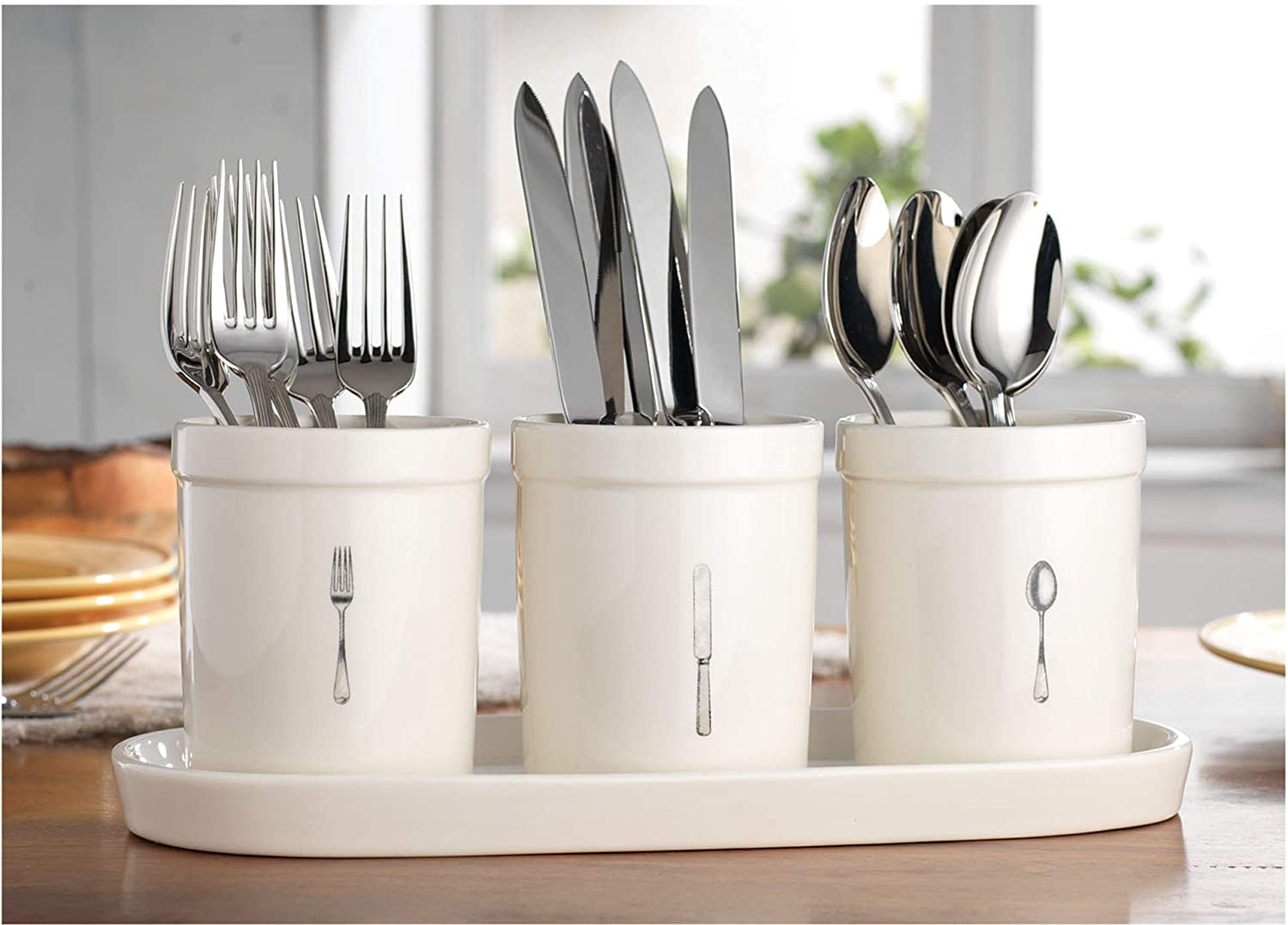 Kitchen Utensil Cutlery Organizer, Holds Napkins, Forks, Spoons, Spatula, Vintage Style Caddy Silverware Holder For Kitchen Countertop Storage, Ceramic Utensil Caddy Centerpiece