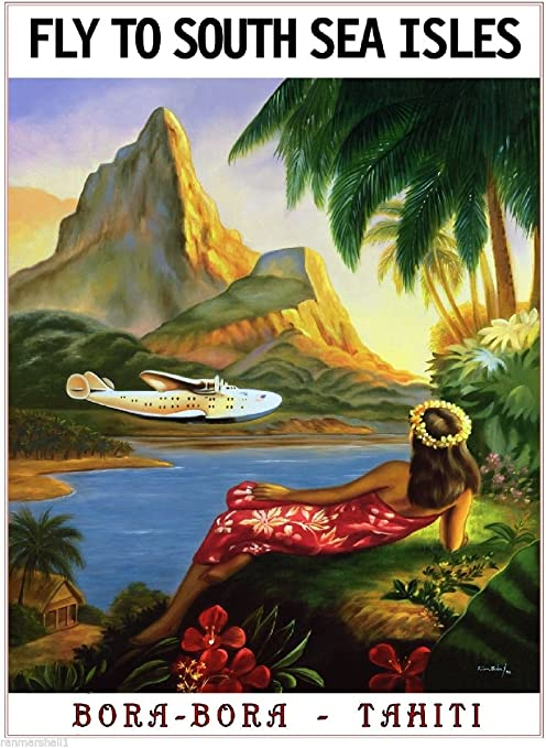 Hawaii from Chicago United States Amerca Travel Advertisement Art Poster