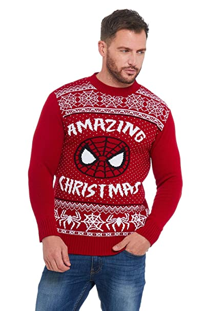 Christmas Jumpers Unisex Mens Womens Ladies Xmas Novelty Knitted Sweater  Amazing Christmas Marvel Spider Man 2019