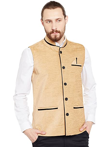 bbd3c675ccb Camey Men s Woven Cotton Blend Nehru and Modi Jacket Ethnic Style ...