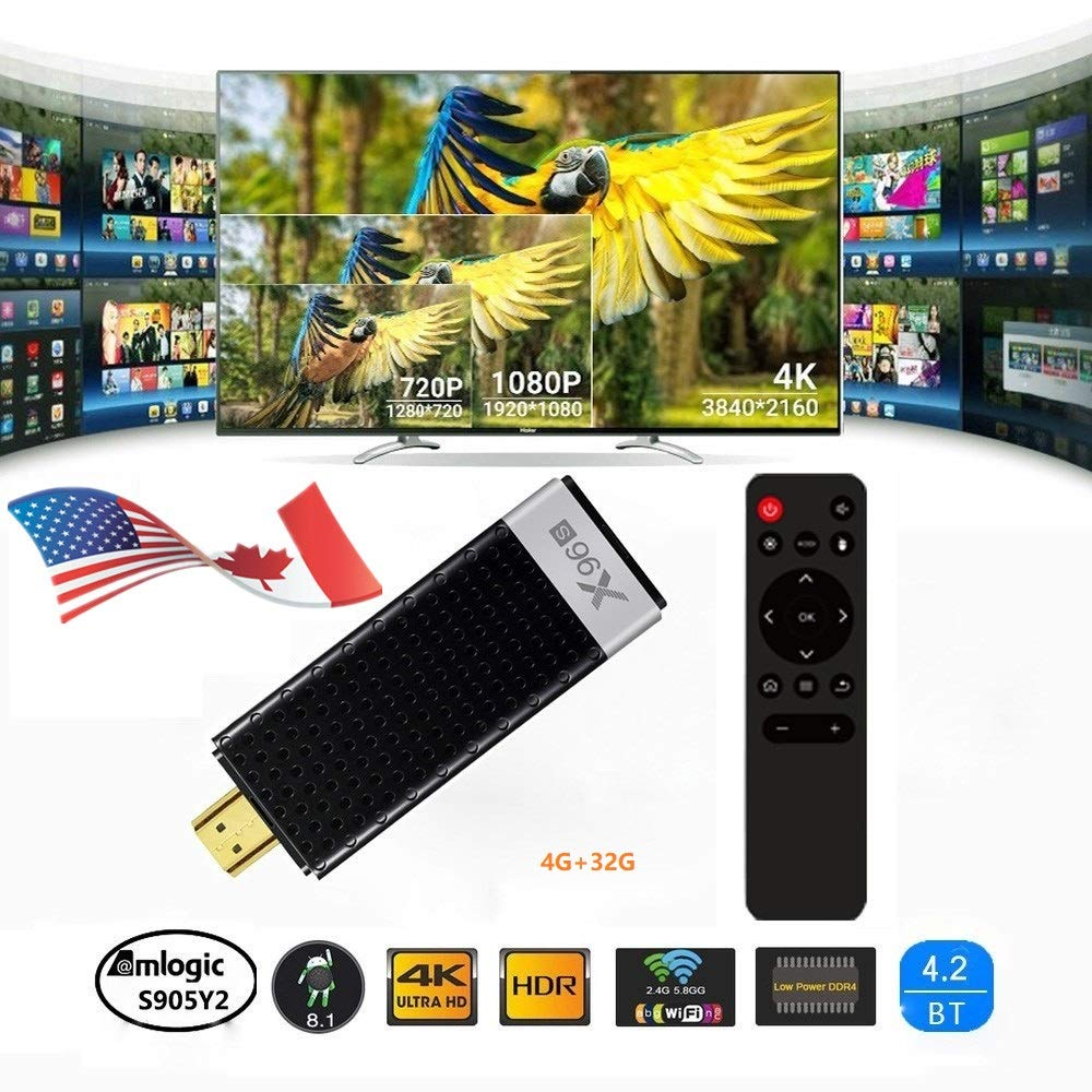 2019 Plugin use USA Free Version Android Oreo 4G+32G TV Player Stick Support 3D 4K HD