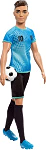 Barbie Ken Soccer Player Doll with Soccer Ball Wearing Soccer Uniform Accessorized with Soccer Socks and Cleats, Gift for 3 to 7 Year Olds