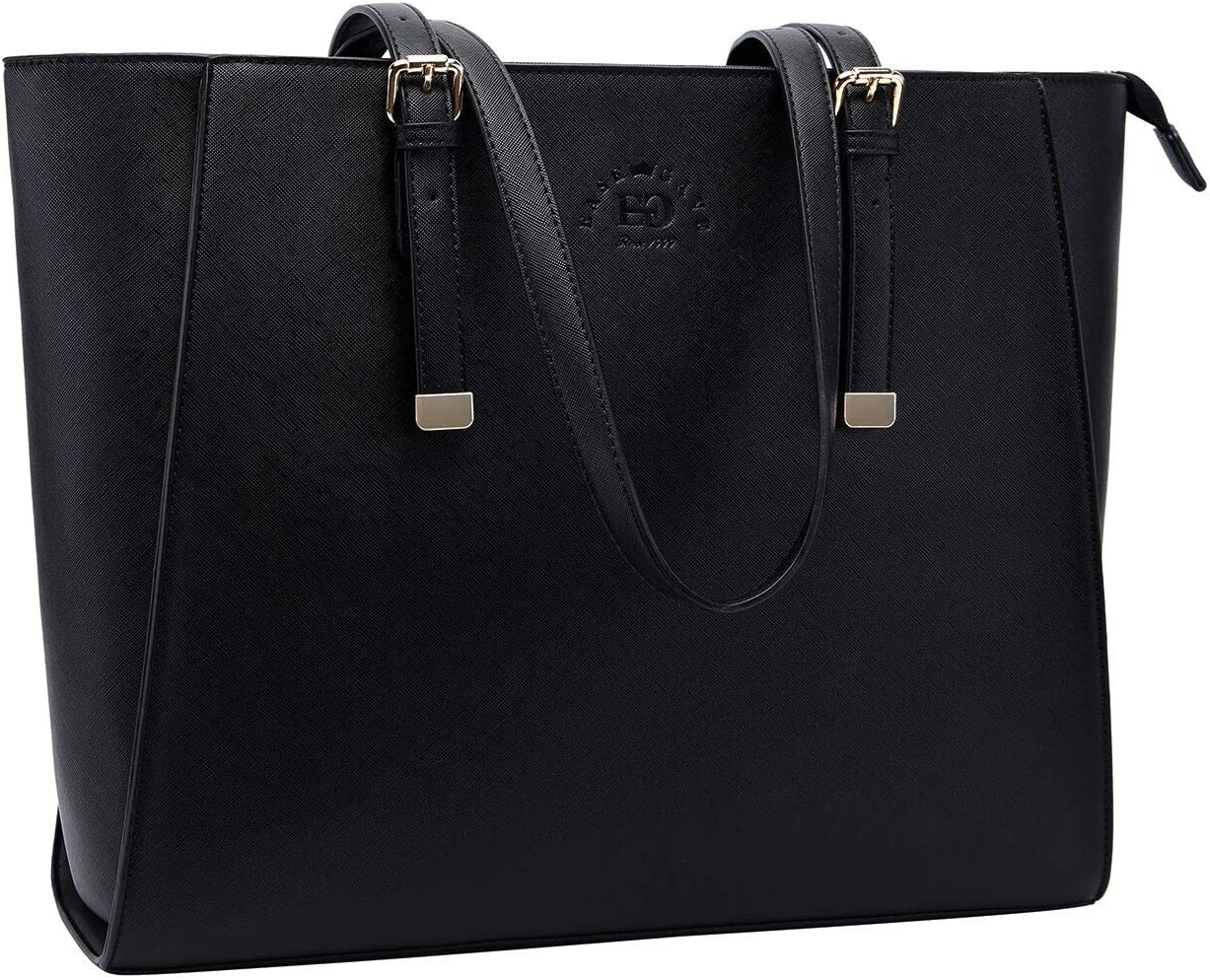 Laptop-Bag-for-Women, Laptop-Tote -Bag 15.6 Inch Functional Computer-Bags Classic Work-Tote-Bag for Interviews Commutes Work Weekend Travel, Black
