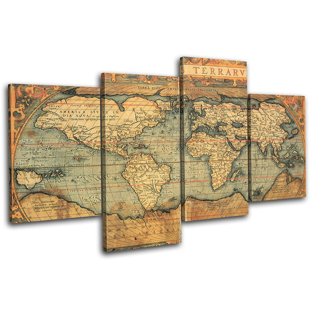 Canvas Pictures of a World Map in Brown and Tan for your Bedroom ...