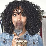 MISSWIG Synthetic Heat Resistant Fiber Hair Afro Kinky Curly Wig for Black Women (Color: