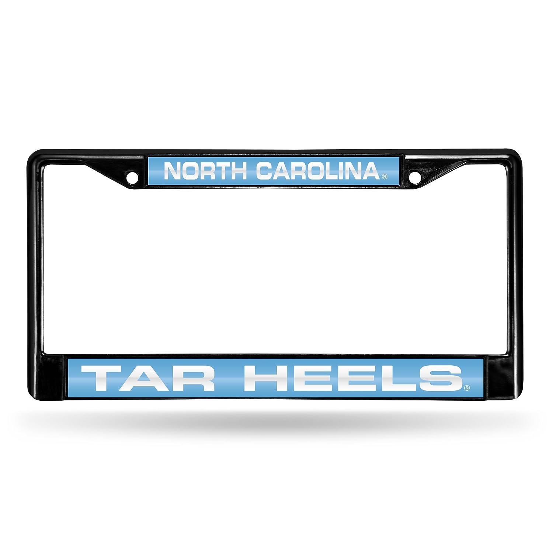 FCLB130102 NCAA North Carolina Tar Heels Laser Cut Inlaid Black Standard Chrome License Plate Frame Rico Industries Inc