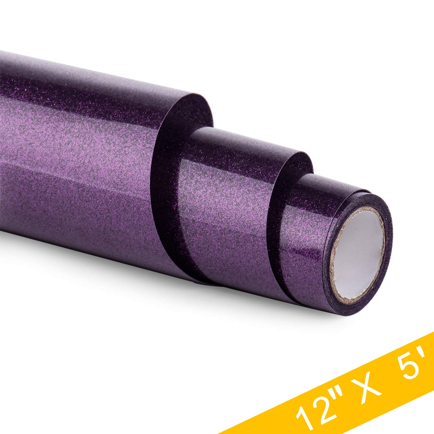 HenPisen Glitter HTV Vinyl - 12'' x 5ft PU Heat Transfer Vinyl roll, Iron On Vinyl for Cricut & Silhouette Cameo Easy to Cut & Weed, Durable,Vibrant Color Design for T-Shirt and Other Textiles(Purple) by HenPisen