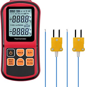Digital 2 Channel Thermocouple Thermometer Meter Sensor J//K//T//E//R//S//N K-Type